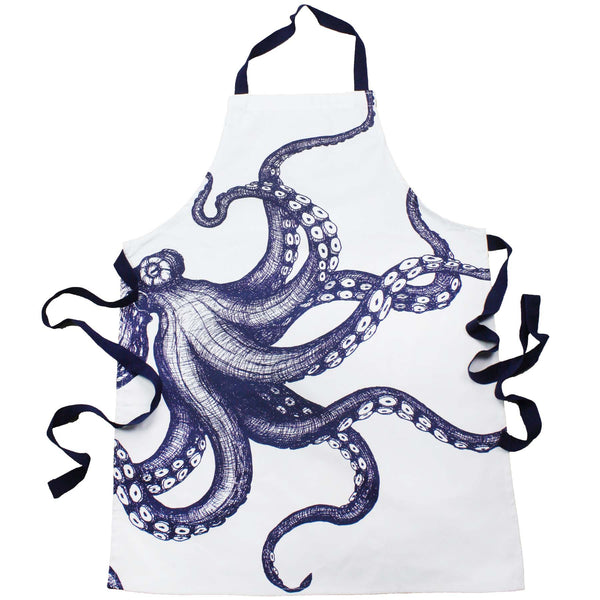 Blue And White Printed Cotton Apron With Octopus Design -Kitchen & Dining- Cream Cornwall