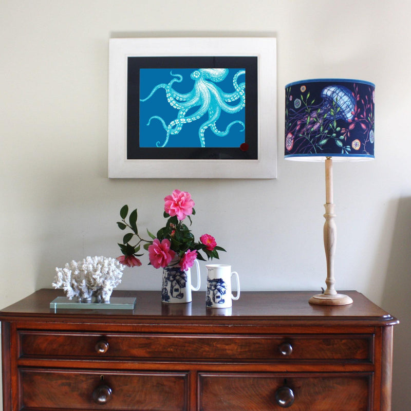 Octopus Art Print In Turquoise And Blue In Three Sizes - A2, A3 And A4 -Accessories- Cream Cornwall