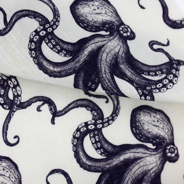 Organic Cotton/Linen Mix Fabric In Octopus Design -Homeware- Cream Cornwall