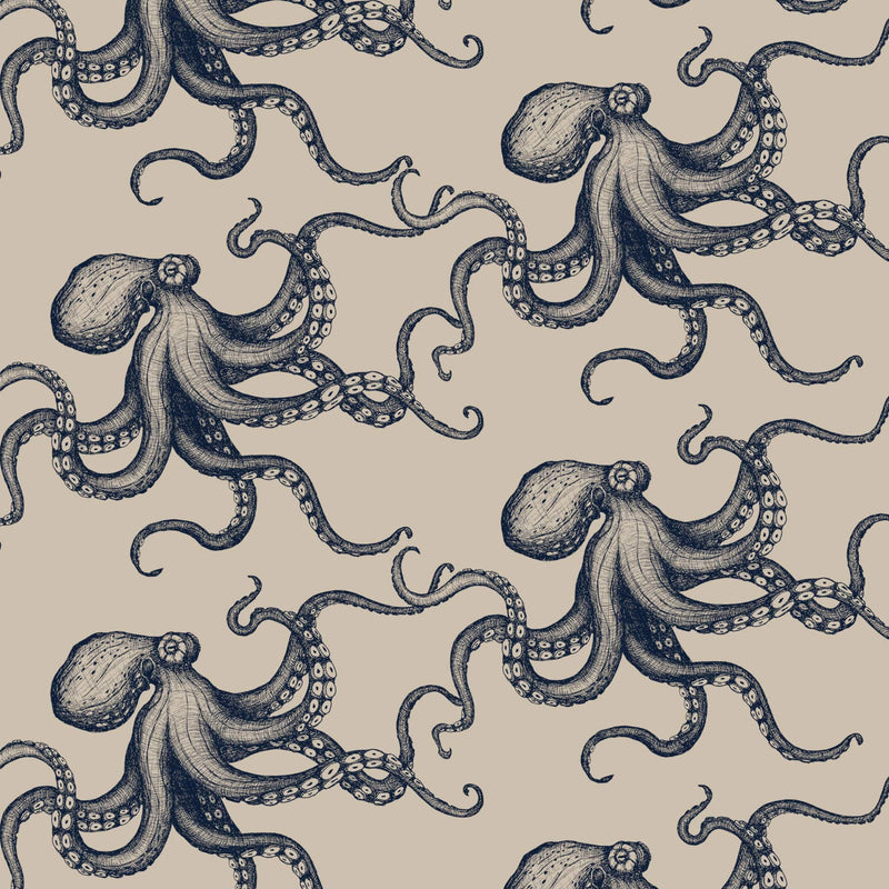 Octopus Organic Linen Navy On Natural - Cream Cornwall