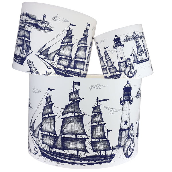Marine Blue On White Maritime Lampshade -Homeware- Cream Cornwall