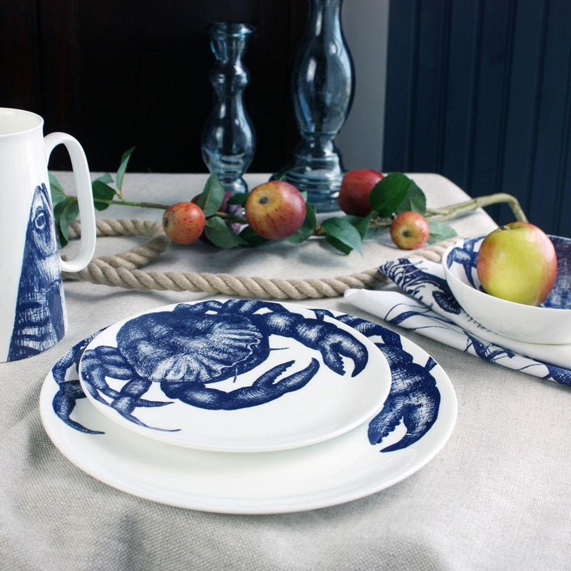 Blue And White Bone China Crab Side Plate -Kitchen & Dining- Cream Cornwall
