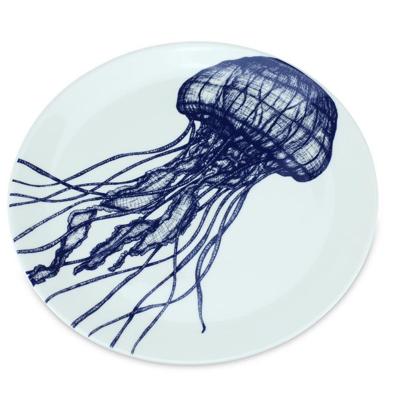 Blue And White Bone China Jellyfish Side Plate -Kitchen & Dining- Cream Cornwall