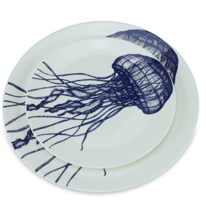 Blue And White Bone China Jellyfish Dinner Plate -Kitchen & Dining- Cream Cornwall