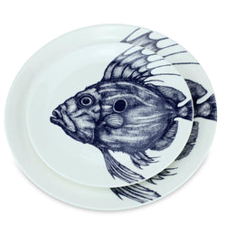 Blue And White Bone China John Dory Side Plate -Kitchen & Dining- Cream Cornwall