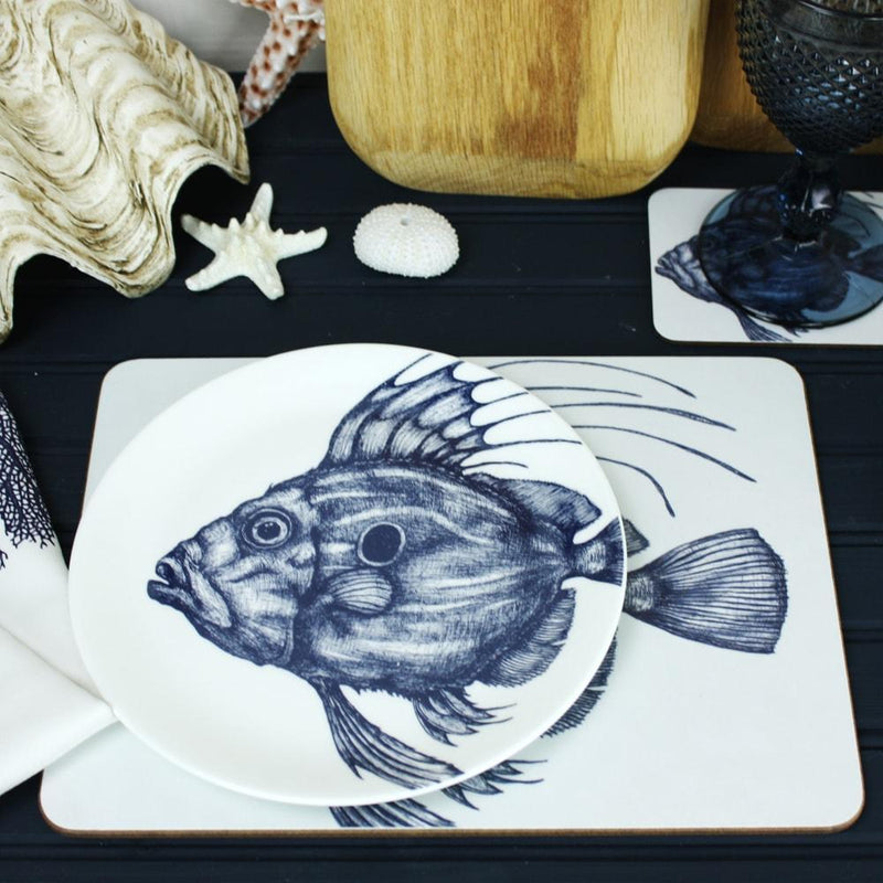 Blue And White Bone China John Dory Dinner Plate -Kitchen & Dining- Cream Cornwall
