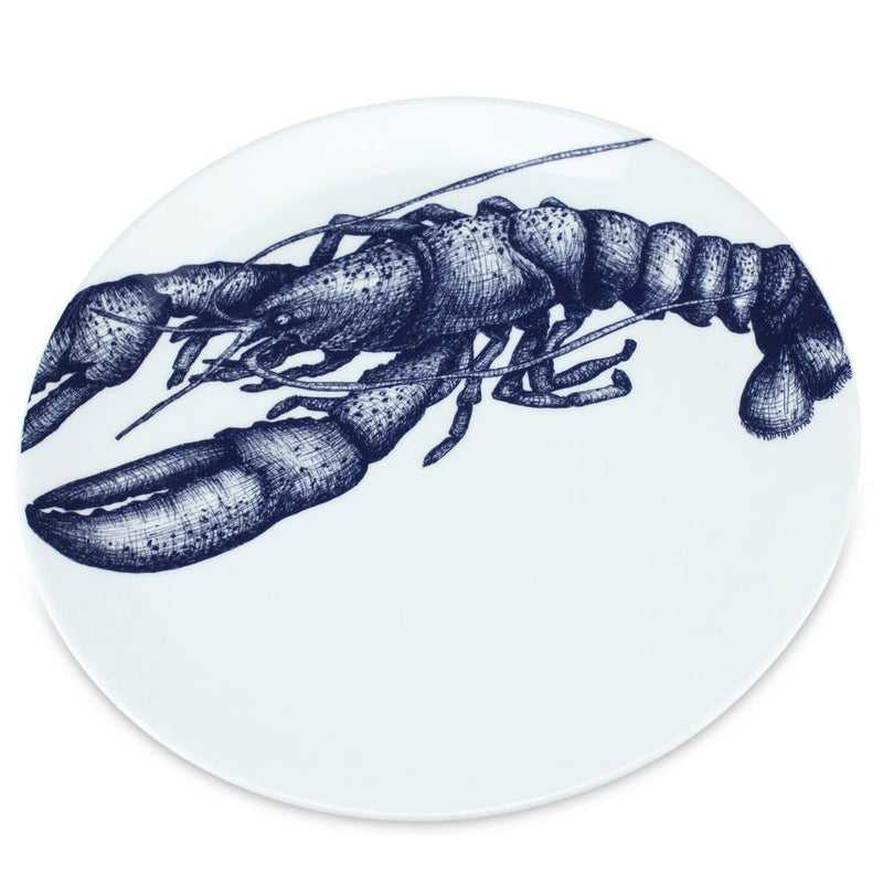Blue And White Bone China Lobster Side Plate -Kitchen & Dining- Cream Cornwall