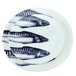 Blue And White Bone China Mackerel Side Plate -Kitchen & Dining- Cream Cornwall