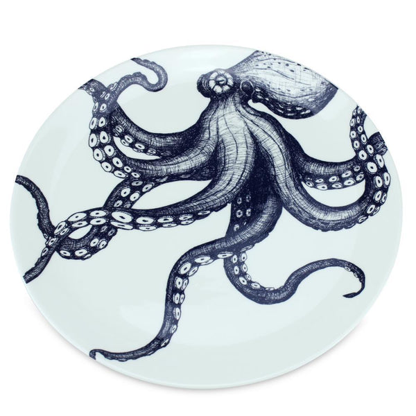 Blue And White Bone China Octopus Dinner Plate -Kitchen & Dining- Cream Cornwall