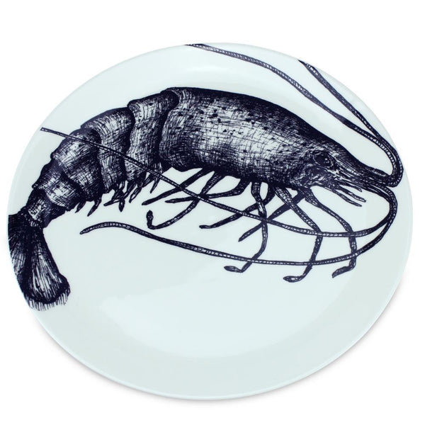 Blue And White Bone China Prawn Side Plate -Kitchen & Dining- Cream Cornwall