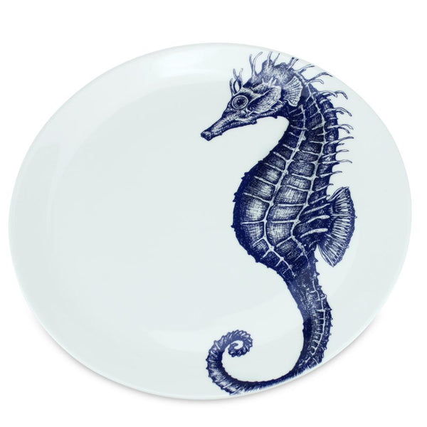 Blue And White Bone China Seahorse Dinner Plate -Kitchen & Dining- Cream Cornwall