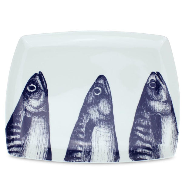 Blue And White Bone China Mackerel Platter -Kitchen & Dining- Cream Cornwall