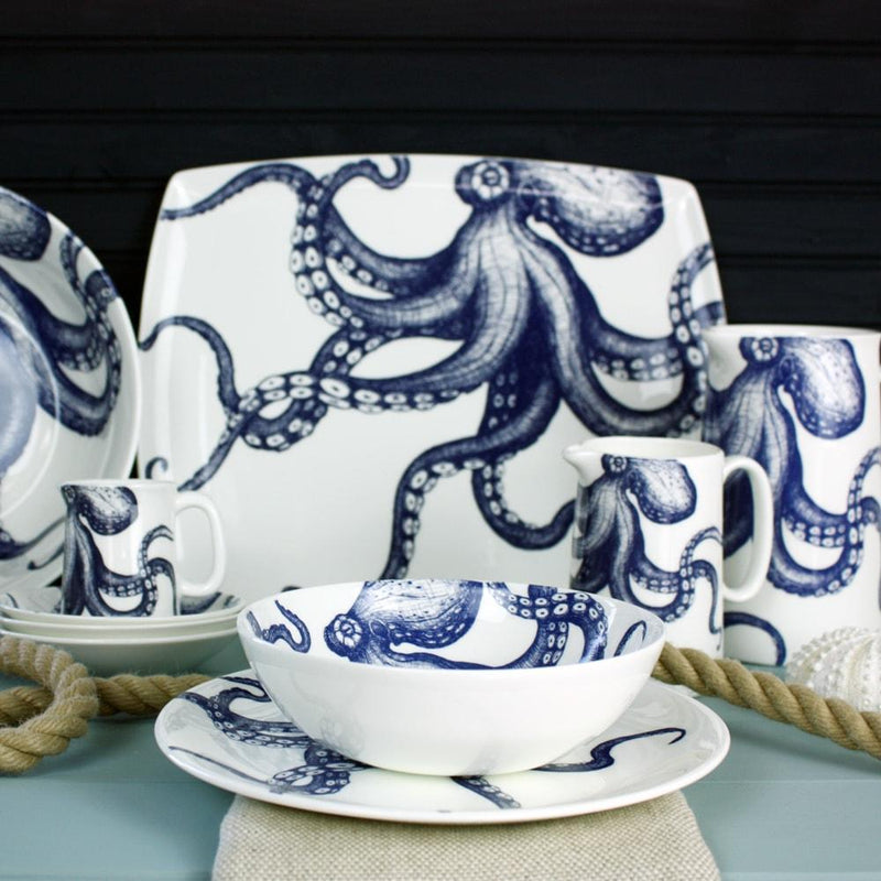 Blue And White Bone China Octopus Platter -Kitchen & Dining- Cream Cornwall