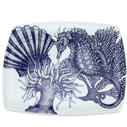 Blue And White Bone China Seahorse Platter - cream cornwall