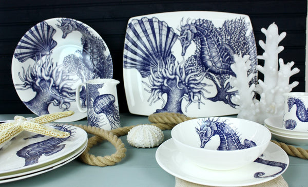 Blue And White Bone China Seahorse Platter -Kitchen & Dining- Cream Cornwall