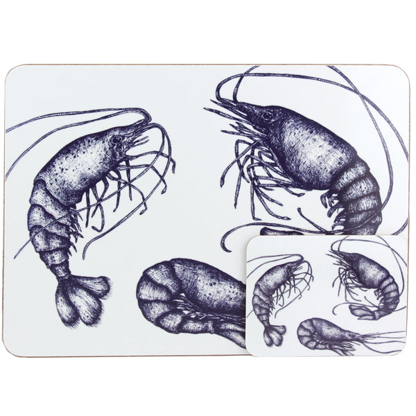 Blue And White Prawn Design Placemat/Coaster -Kitchen & Dining- Cream Cornwall
