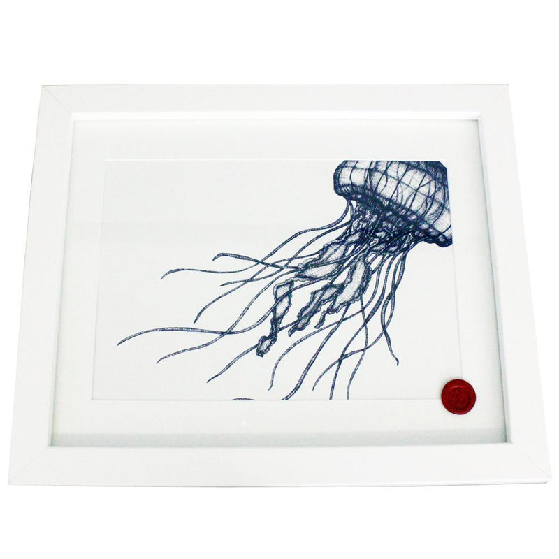 Jellyfish Art Print In Blue On White In Three Sizes - A2, A3 And A4 -Accessories- Cream Cornwall