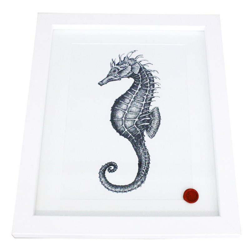 Seahorse Art Print In Blue On White In Three Sizes - A2, A3 And A4 -Accessories- Cream Cornwall