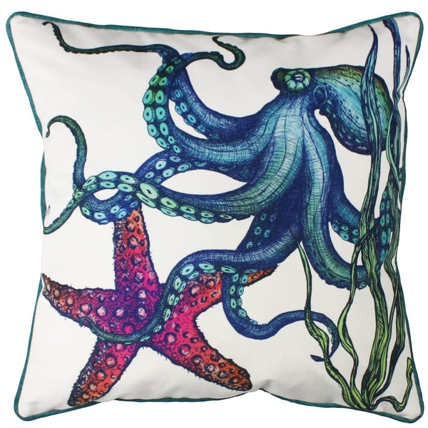 Rainbow Reef Octopus Velvet Cushion Cover On White Velvet -Homeware- Cream Cornwall