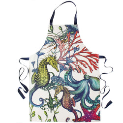 Reef Design Multi-Colour Printed Cotton Apron -Kitchen & Dining- Cream Cornwall