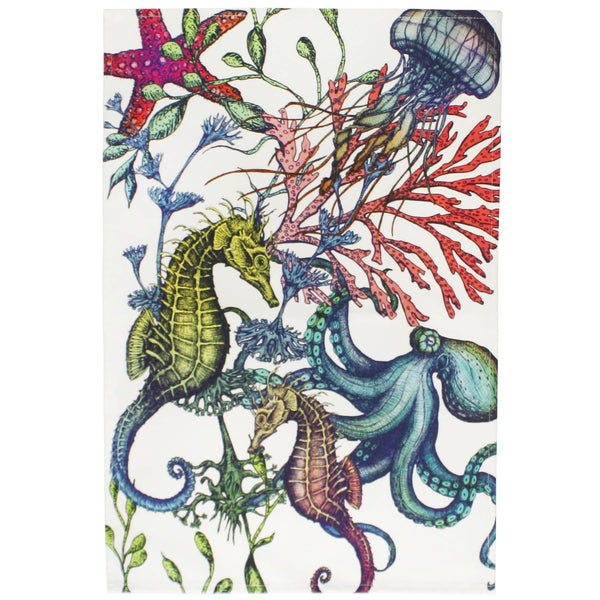 Reef Design Multi Colour Cotton Tea Towel -Kitchen & Dining- Cream Cornwall