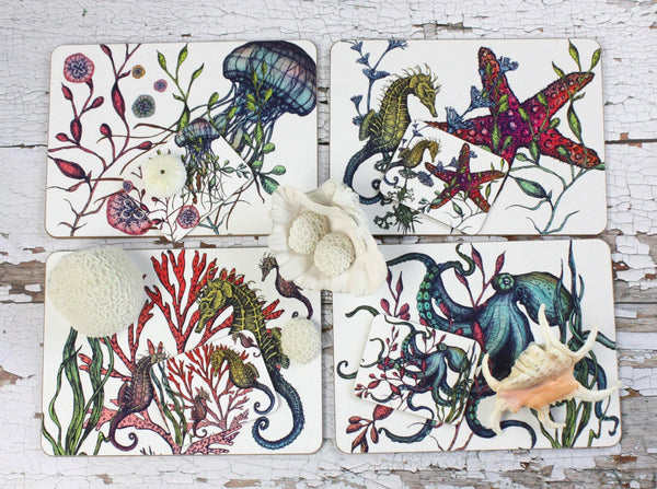 Set Of Four Reef Placemats -Kitchen & Dining- Cream Cornwall