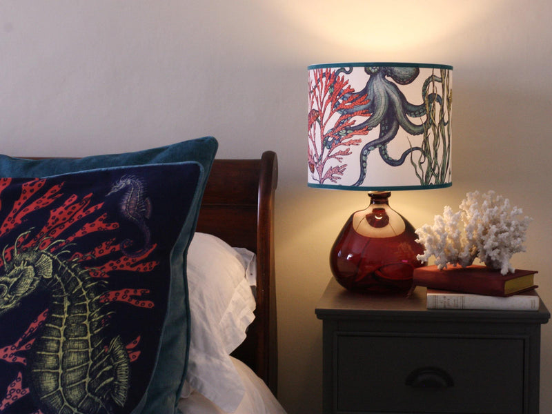 Rainbow Reef White Lampshade With Octopus, Seahorse & Starfish With Velvet Trim -Homeware- Cream Cornwall