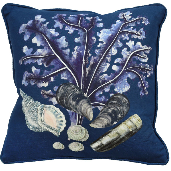 Rockpool Ink Blue Linen Cushion Cover - Cream Cornwall