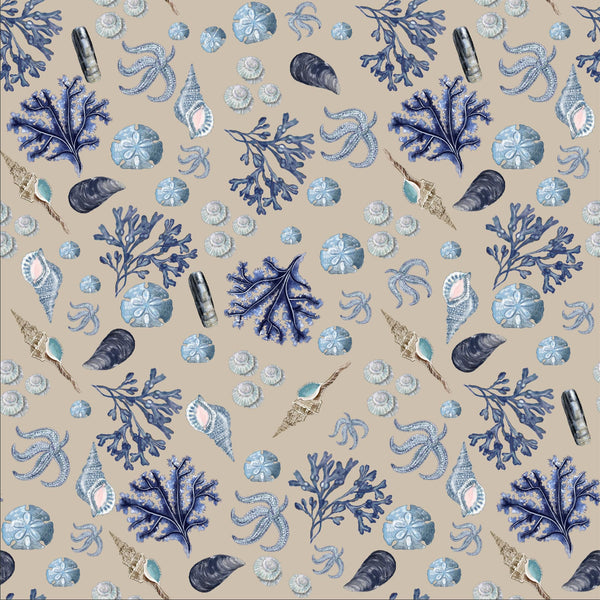 Rockpool Natural Linen Fabric - Cream Cornwall