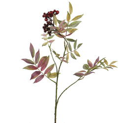 Variegated Leaf & Berry Spray -Accessories- Cream Cornwall