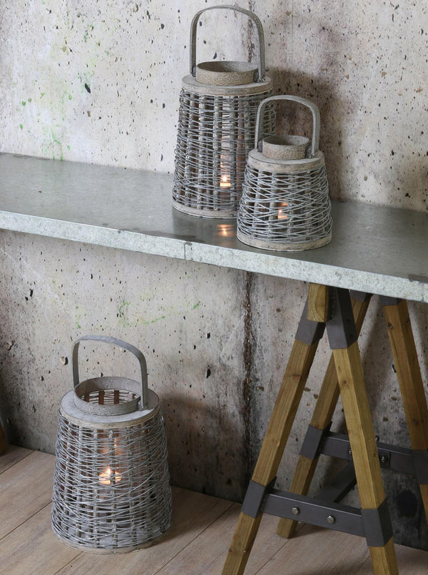 Lobster Pot Hurricane Lantern -Homeware- Cream Cornwall