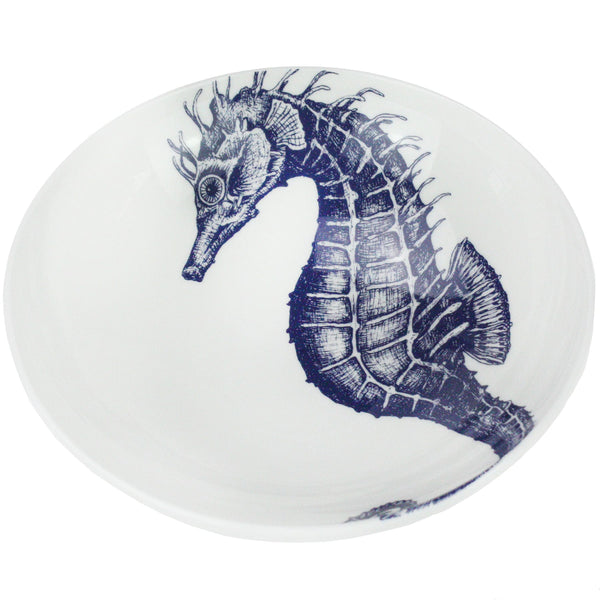 Blue And White Bone China Seahorse Pasta Bowl -Kitchen & Dining- Cream Cornwall