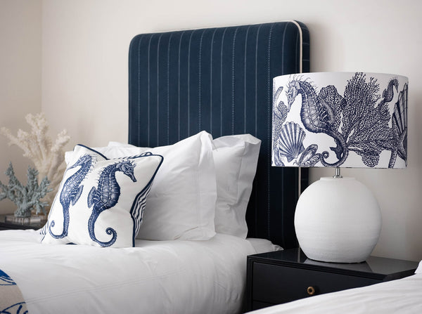 Marine Blue On White Seahorse & Shells Lampshade -Homeware- Cream Cornwall