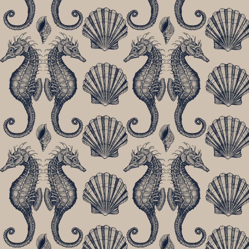 Seahorse Organic Linen in Navy On Natural - Cream Cornwall