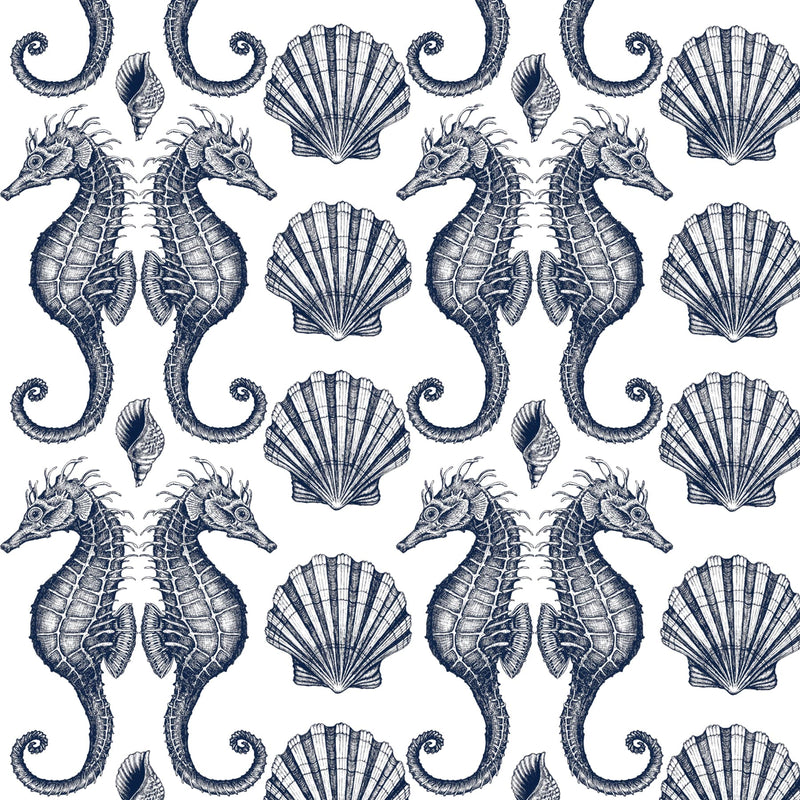 Seahorse Organic Linen In Navy On Off White - Cream Cornwall