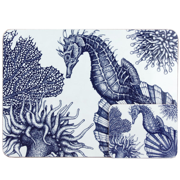 Blue And White Seahorse Design Placemat/Coaster -Kitchen & Dining- Cream Cornwall
