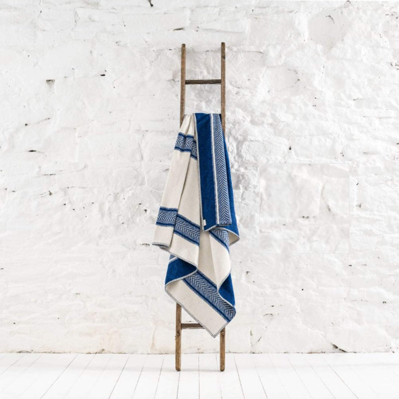 Seastripe Recycled Cotton Throw in Cobalt And Ecru -Homeware- Cream Cornwall
