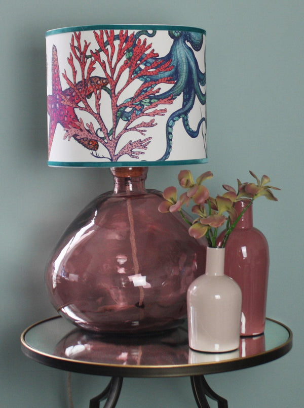 Sennen Recycled Glass Lamp Base In Pink Glass -Homeware- Cream Cornwall