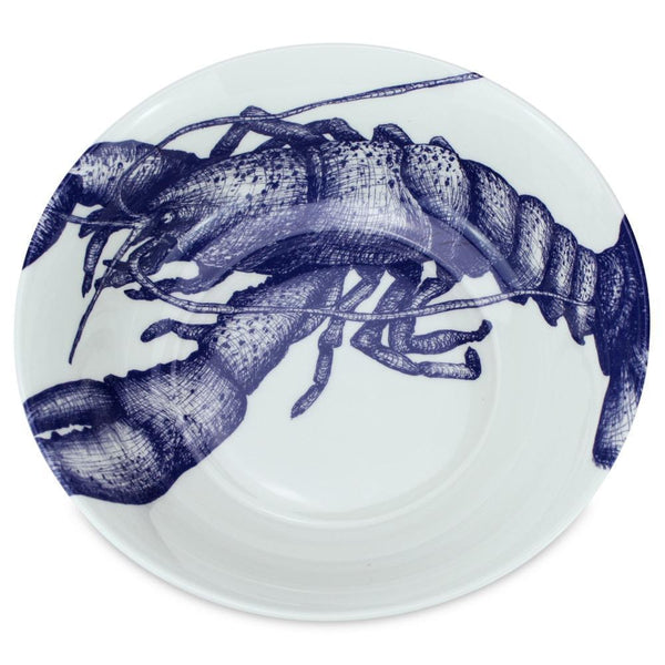 Blue And White Bone China Lobster Serving Bowl -Kitchen & Dining- Cream Cornwall
