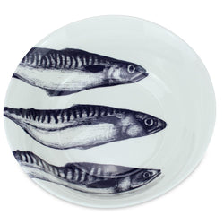 Blue And White Bone China Mackerel Serving Bowl -Kitchen & Dining- Cream Cornwall