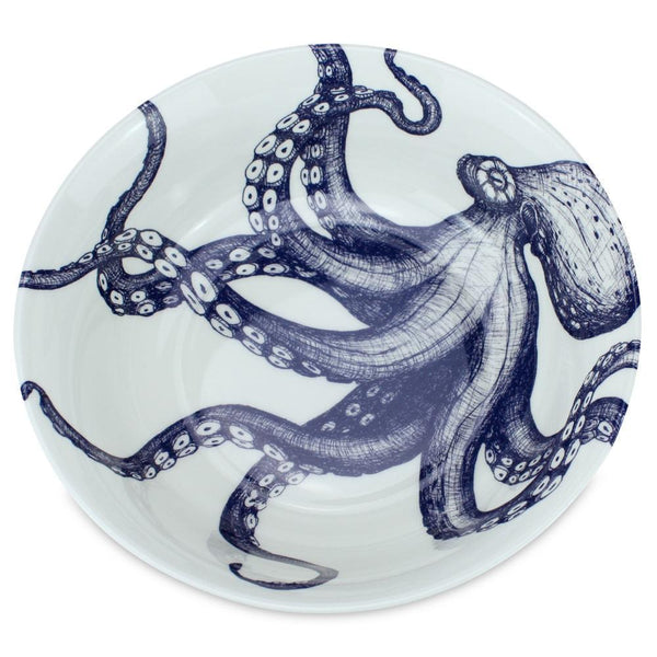 Blue And White Bone China Octopus Serving Bowl -Kitchen & Dining- Cream Cornwall