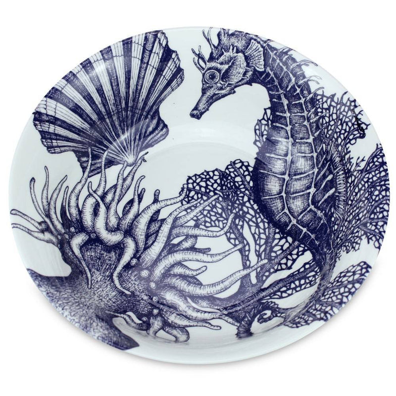 Blue And White Bone China Seahorse Serving Bowl -Kitchen & Dining- Cream Cornwall