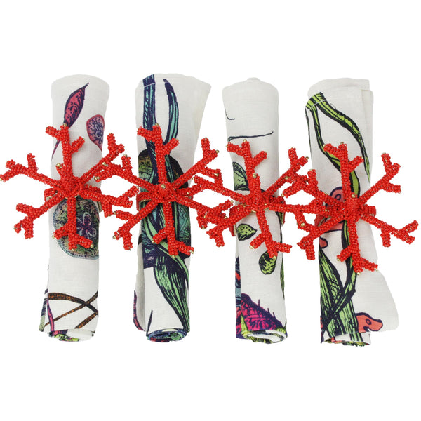 Set of 4 Red Coral Napkin Rings -Kitchen & Dining- Cream Cornwall