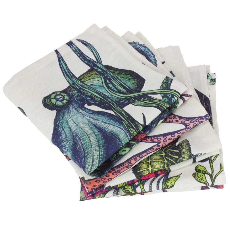 Set Of 4  Reef Napkins On Off White Organic Linen -Kitchen & Dining- Cream Cornwall