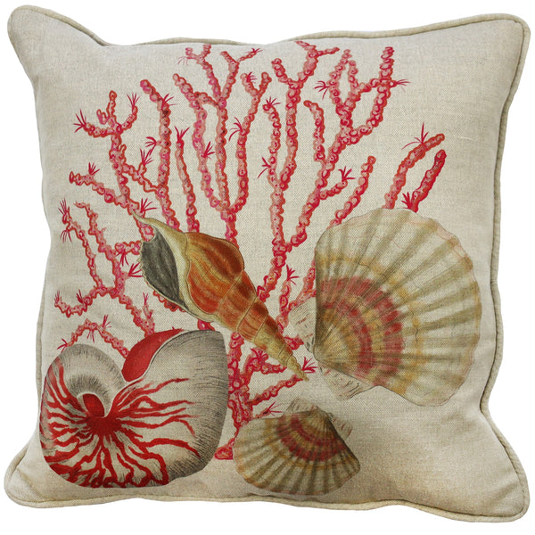 Shellseeker Natural Linen Cushion Cover - Cream Cornwall