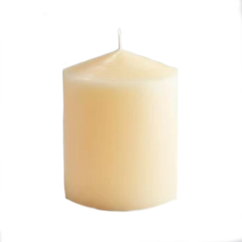 "Hand Drawn Church Pillar Candle - 4"" x 5"" -Accessories- Cream Cornwall"