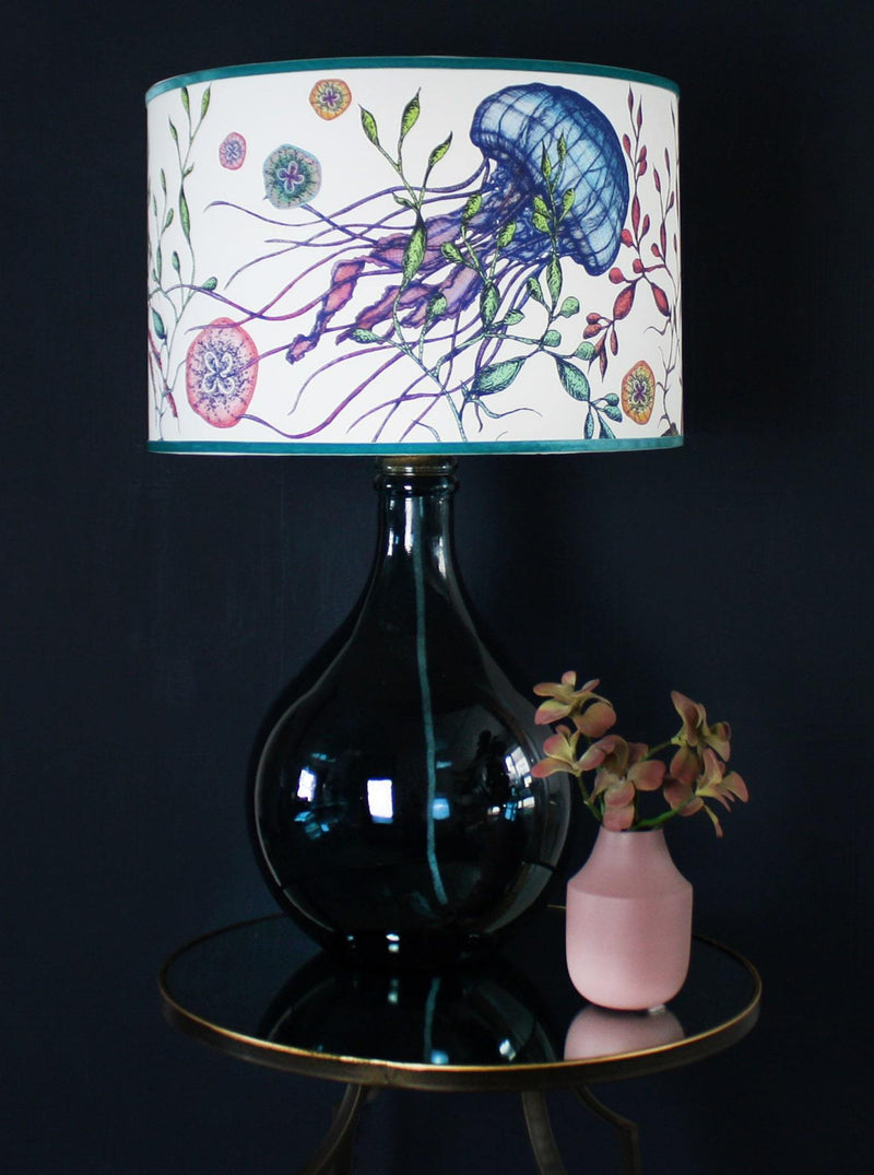 St Mawes Long Neck Glass Lamp Base In Petrol Blue -Homeware- Cream Cornwall