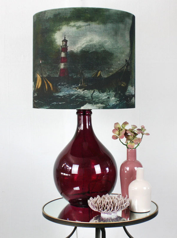 St Mawes Glass Lamp Base - Burgundy -Homeware- Cream Cornwall
