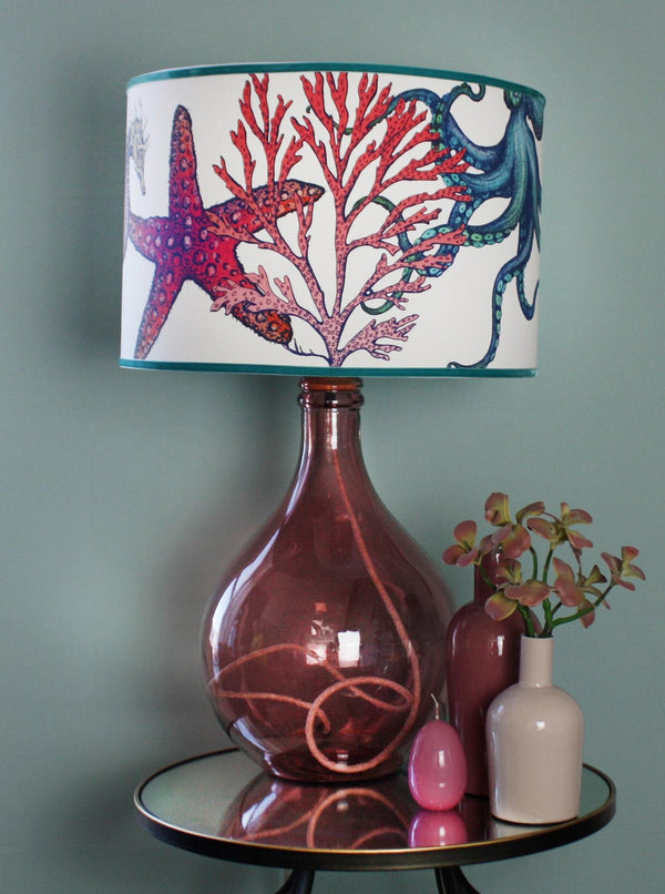 St Mawes Long Neck Glass Lamp Base In Pink -Homeware- Cream Cornwall