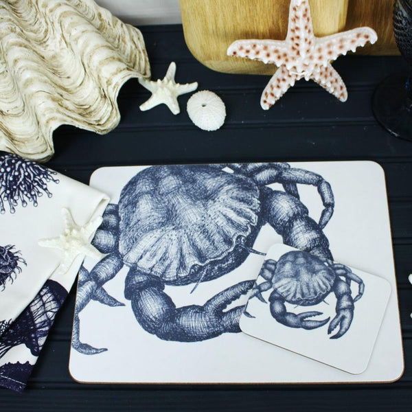Blue And White Crab Design Placemat/Coaster -Kitchen & Dining- Cream Cornwall